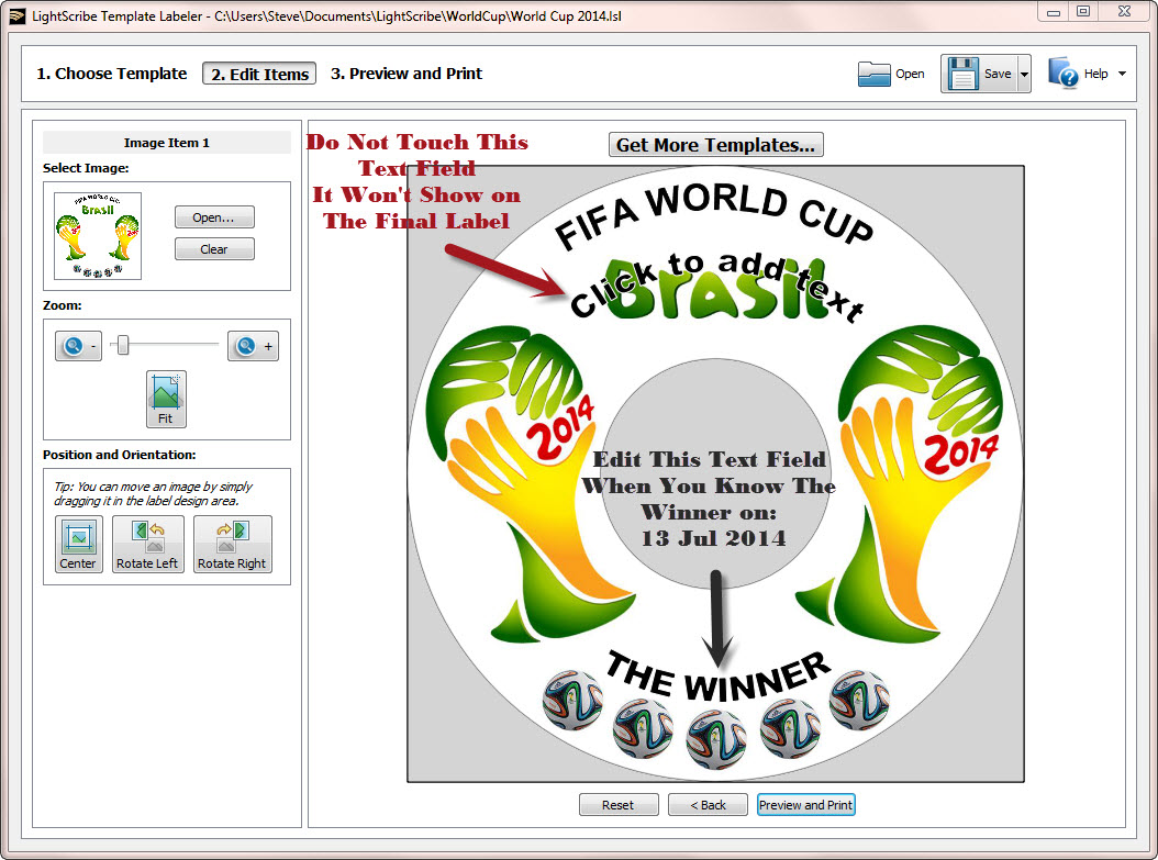 World Cup 2014 LightScribe Label 1