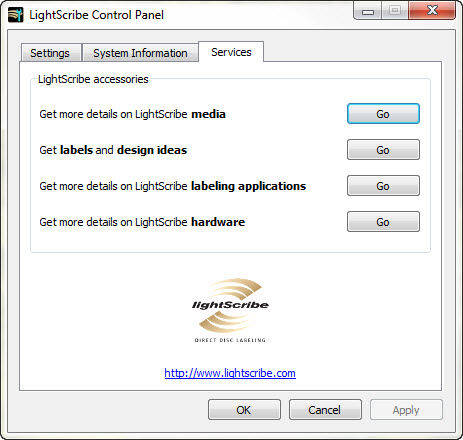 LightScribe Control Panel Services Tab
