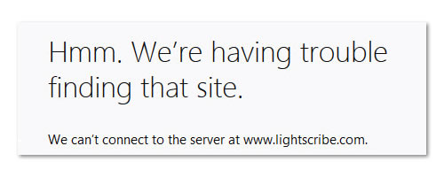 The Message when you try to go to LightScribe.com
