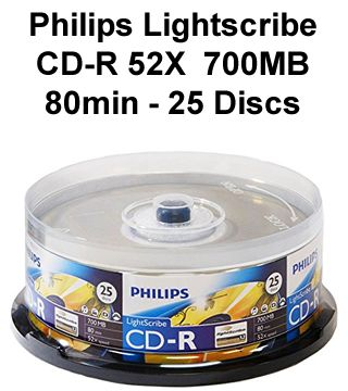 Philips Lightscribe CD-R 52X 700MB 80min - 25 Discs