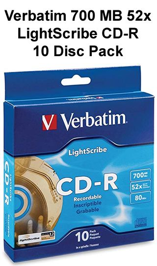 Verbatim 700 MB 52x LightScribe CD-R 10 Disc Pack